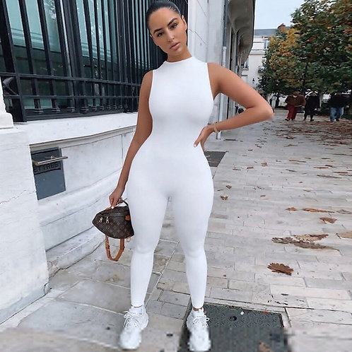 Sexy sleeveless white jump suit