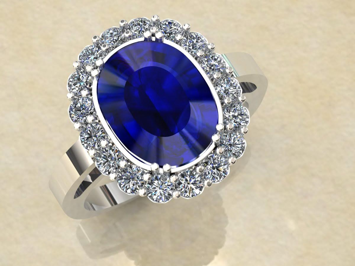 Custom sapphire and diamond engagement ring.