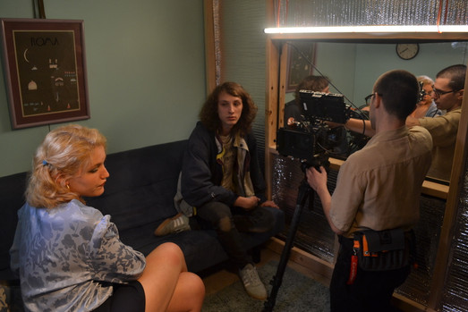 Actress Payson Whitwell, director Ronan Day-Lewis and DP Andrew Schmidt on set