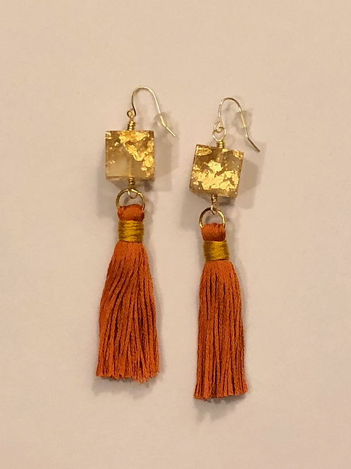 Resin Cube and Tassel Earrings