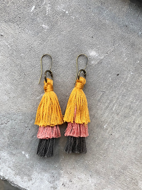 Yellow, pink, grey tassel earrings