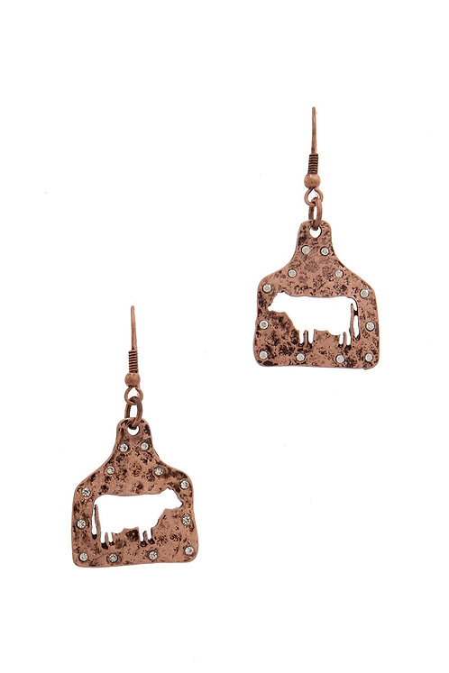 Hammered Copper Cow Ear Tags Earrings