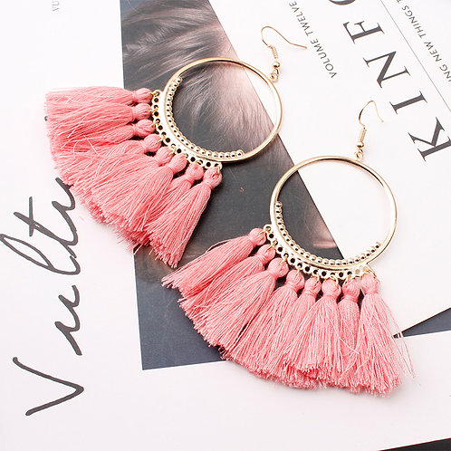 Boho Tassell Hoop Earrings