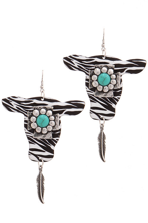 Zebra Print Western Cow Earrings