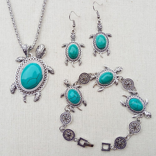 Turquoise Stone Turtle Necklace Set