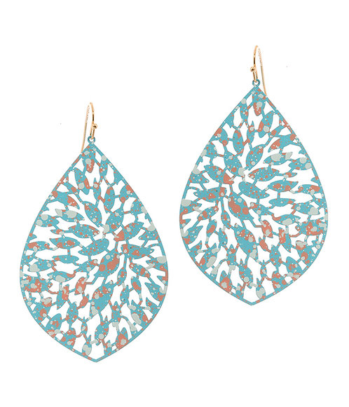 Turquoise Metal Filigree Earrings