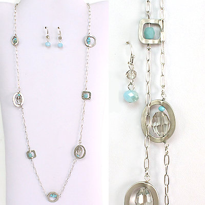 Silver Beaded Long Necklace Set
