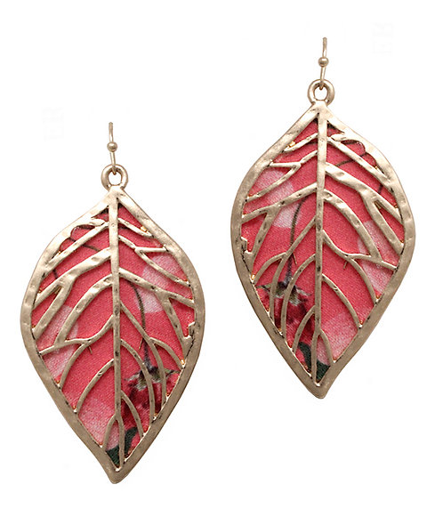 Gold Metal And Fabric Leaf Filigree Earrings