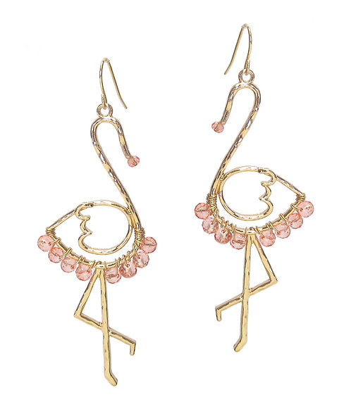 Wired Gold Flamingo Earrings