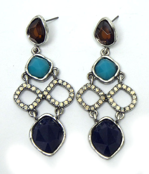 Multi Stone and Crystal Drop Earrings