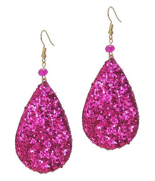 Glittery Pink Leatherette Earrings