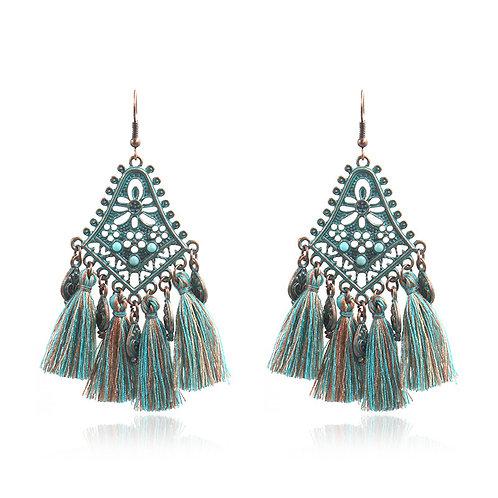 Turquoise Boho Tassel  Earrings