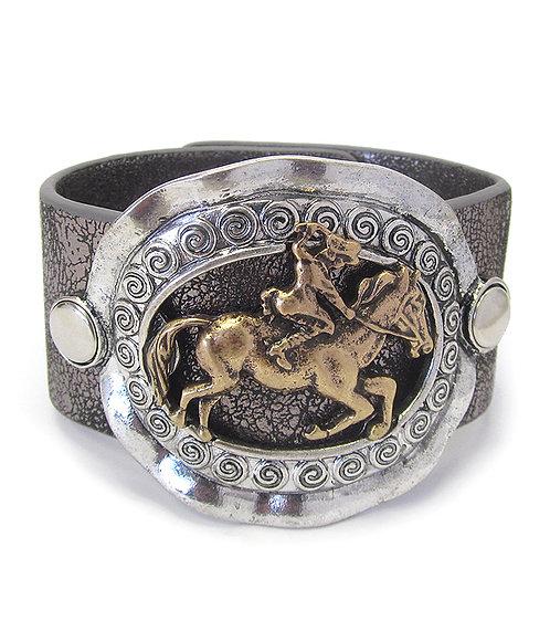 Faux Leather Horse Snap Bracelet