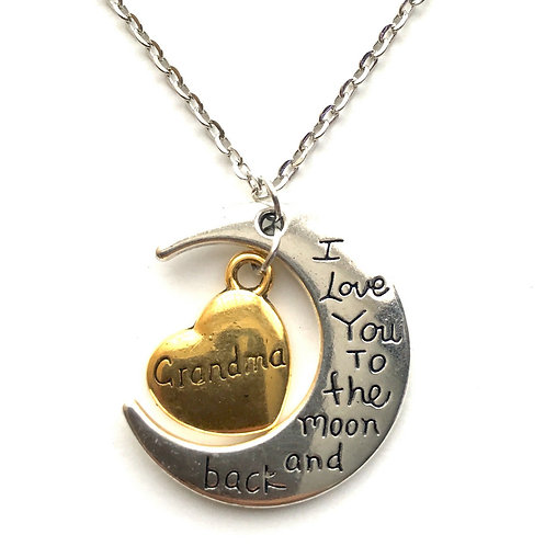 I Love You To The Moon And Back Grandma Necklace