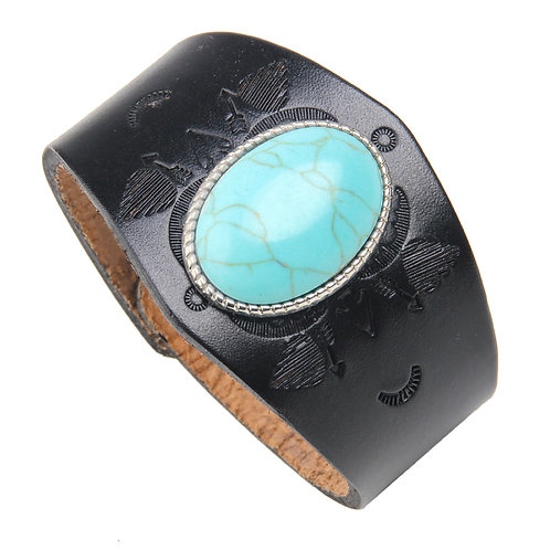 Black Leather and Turquoise Snap Bracelet