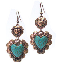 Copper and Turquoise Heart Earrings
