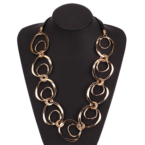 Gold Circle Long Necklace