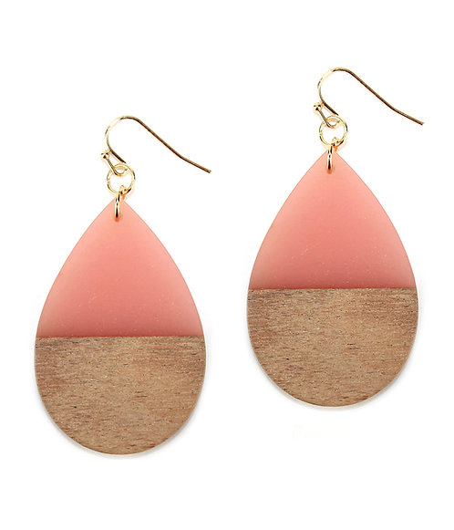 Rose Pink Resin and Wood Teardrop Earrings