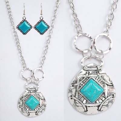Bright Silver & Turquoise Necklace Set