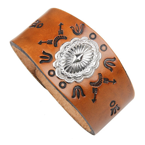 Branded Leather Snap Bracelet