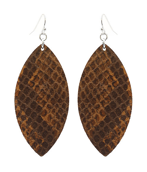 Brown Snakeskin Texture Leatherette Earrings