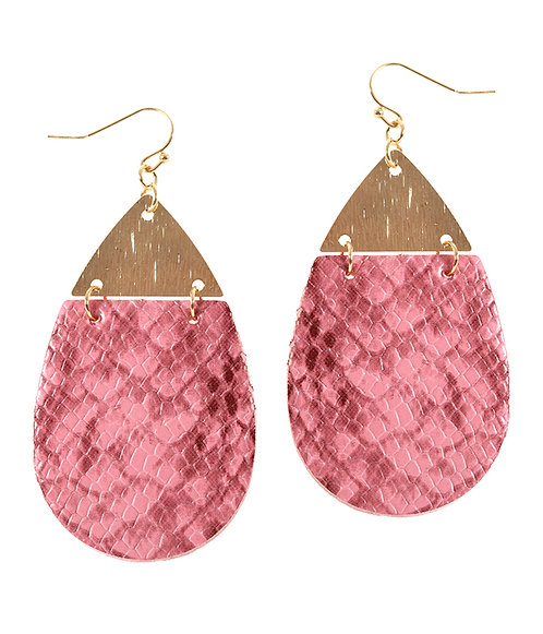 Gold and Snakeskin Textured Leatherette Earrings