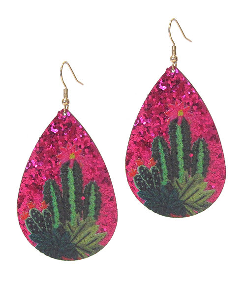 Pink Cactus Teardrop Earrings