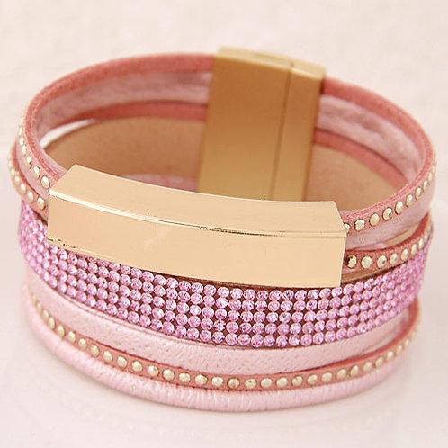 Pink & Gold Multi Strand Bracelet