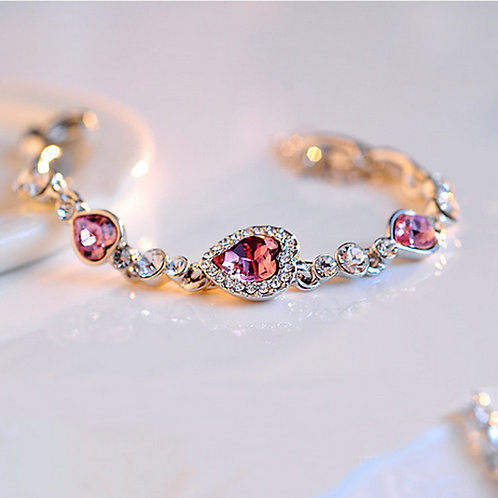 Heart Rhinestone Crystal Bracelet