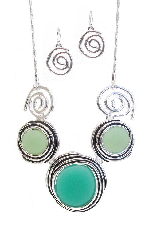Green Tones Sea Glass Necklace