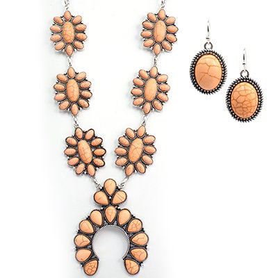 Coral Turquoise Squash Blossom Necklace Set