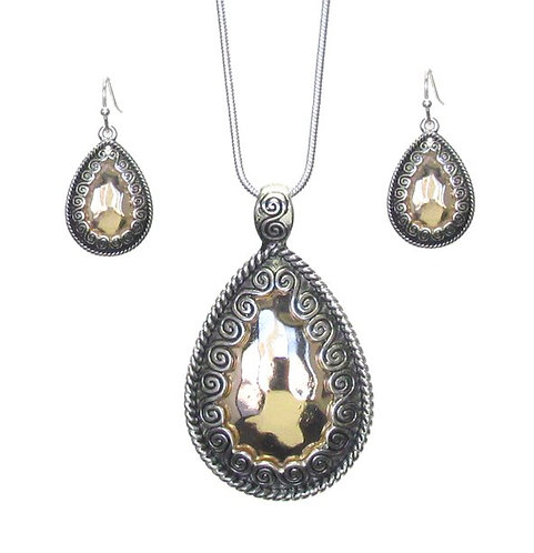 Hammered Silver & Gold Necklace Set