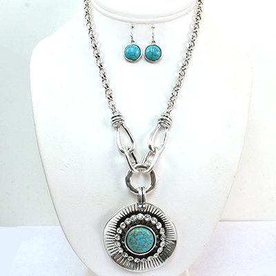 Rhinestone Turquoise Circle Necklace