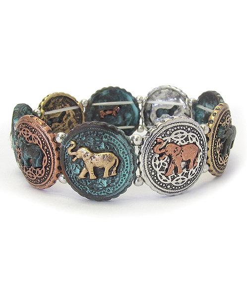 Patina Elephant Bracelet