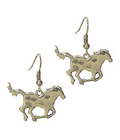 Hammered Golden Horse Earrings