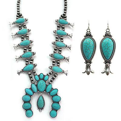 Dark Grey Drop Turquoise Squash Blossom Necklace