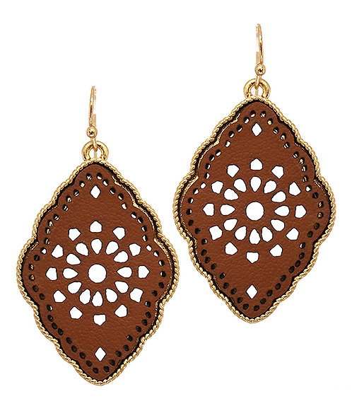 Gold and Brown Leatherette Filigree Earrings