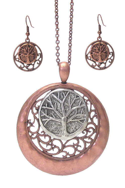 Long Copper Tree Of Life Necklace Set