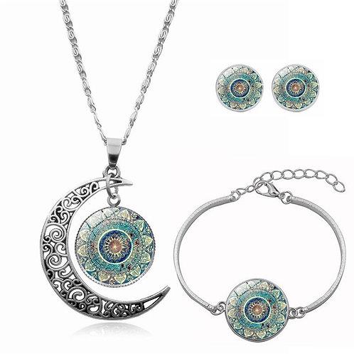 Mandala Moon Necklace Set