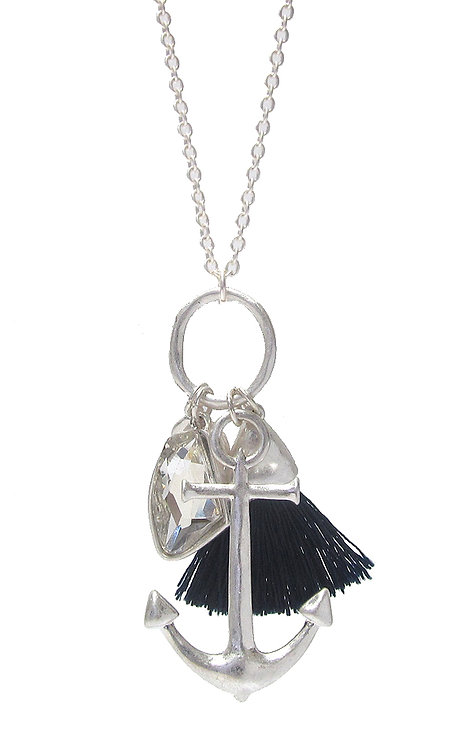Silver Anchor Tassell Long Necklace