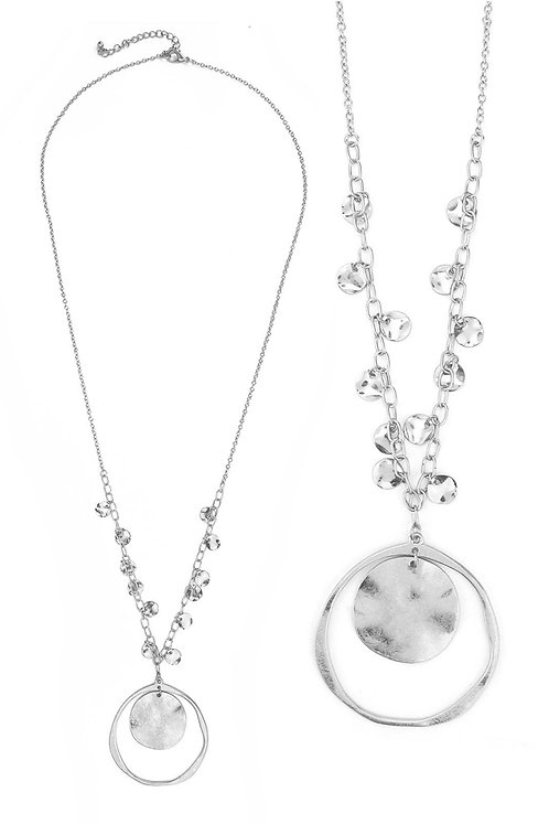 Hammered Silver Long Necklace
