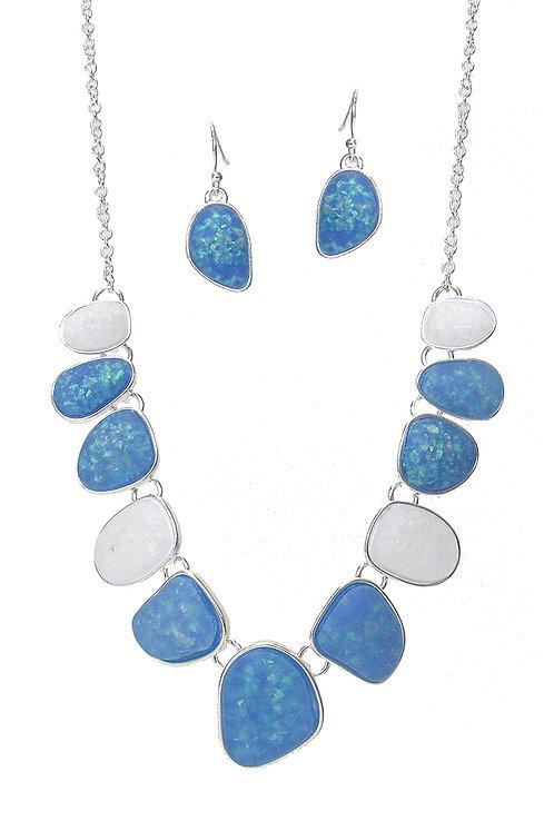 Blue Semi Precious Necklace Set