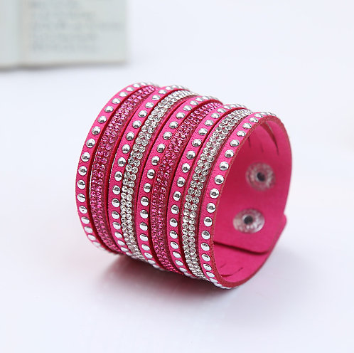 Rhinestone & Stud Faux Leather Snap Bracelet