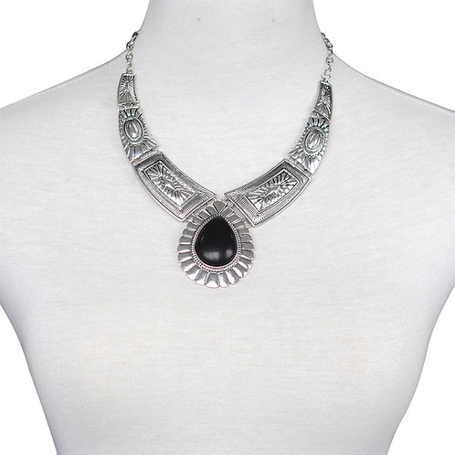 Black Turquoise Western Design Necklace