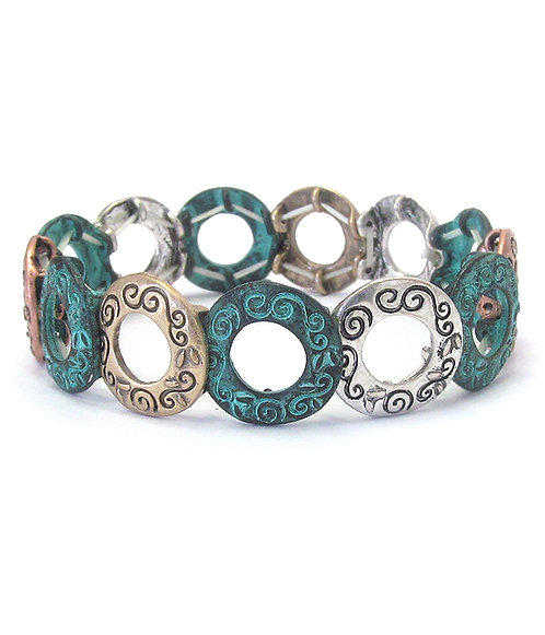 Patina Circle Stretch Bracelet