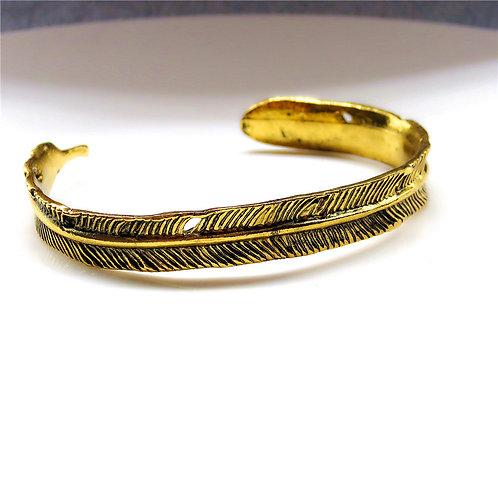 Gold Tone Feather Bracelet