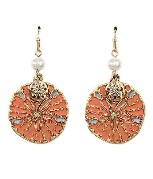 Coral and Gold Sand Dollar Earrings