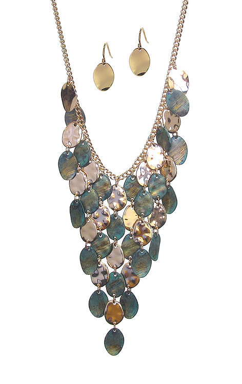 Patina Turquoise and Gold Necklace Set