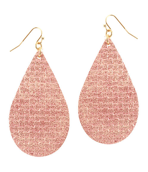Glittery Pink Leatherette Teardrop Earrings