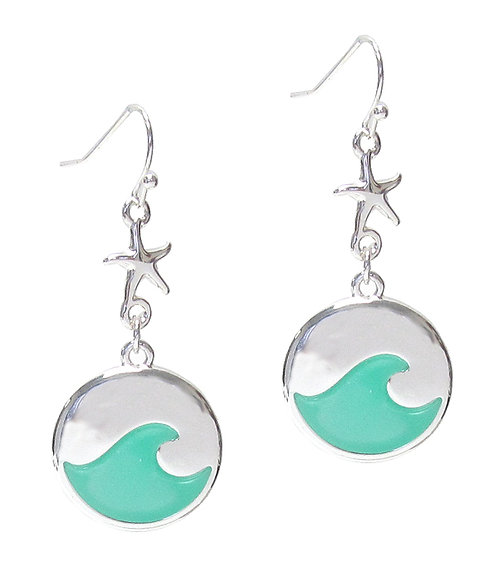 Silver & Turquoise Wave & Starfish Earrings